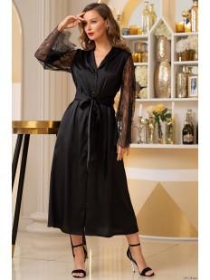 Длинный черный женский атласный халат с кружевным рукавом