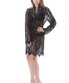 Кружевной женский короткий халат черный