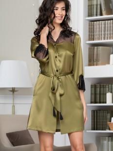 Шелковая женская ночная рубашка оливковая