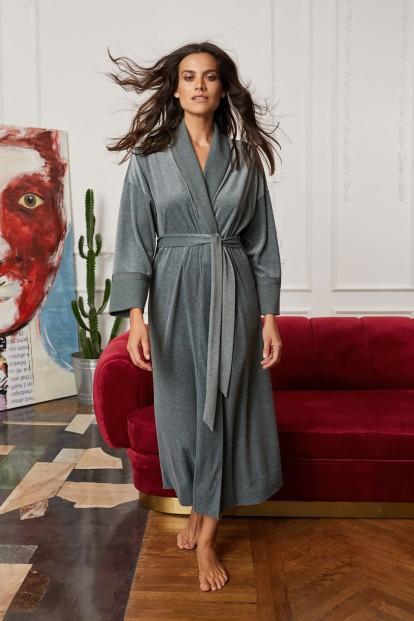 Серо-зеленый длинный женский халат Laete 20375-2 - фото 1