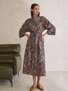 Длинный женский халат из хлопка с принтом пейсли