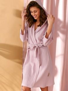 Розовый женский хлопковый халат кимоно с капюшоном