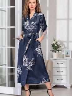 Шелковый длинный женский домашний халат