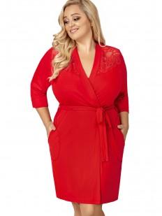 Красный женский домашний халат большого размера из вискозы
