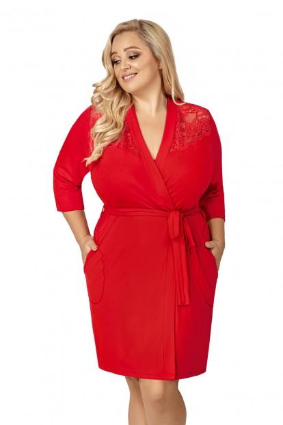 Красный женский халат большого размера Donna TESS PLUS - фото 1