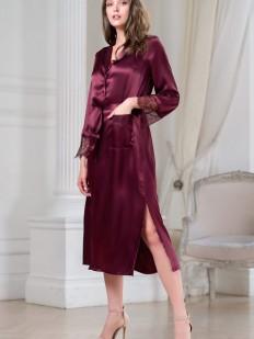 Удлиненный бордовый женский халат из шелка на пуговицах