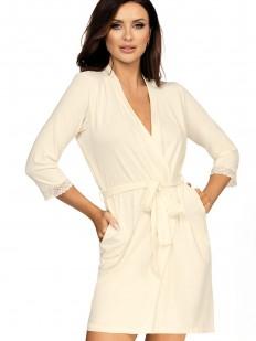 Женский халат на запахе из вискозы с карманами бежевый