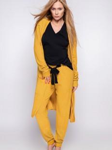 Женский горчичный халат кардиган из вискозы с длинным рукавом и накладными карманами