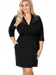 Черный женский домашний халат большого размера из вискозы