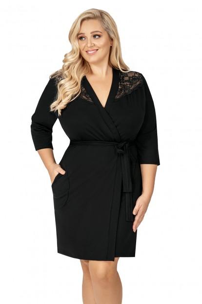 Черный женский халат большого размера Donna TESS PLUS - фото 1