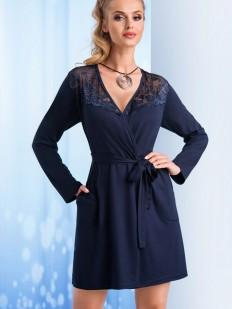 Женский синий халат из вискозы с длинным рукавом и карманами