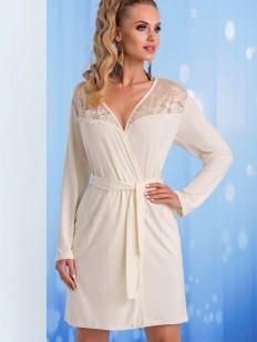 Женский белый халат из вискозы с длинным рукавом