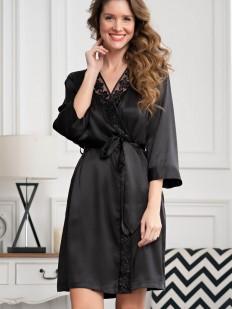Черный атласный женский халат с кружевной отделкой