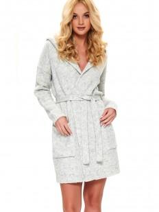 Теплый женский халат из шерсти и акрила с капюшоном светло-серый