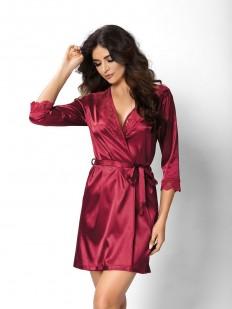Женский бордовый атласный халат на лето