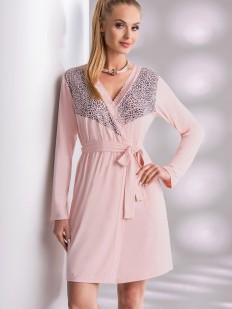 Женский розовый халат из вискозы с длинным рукавом