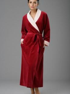 Длинный бордовый теплый женский халат из хлопка
