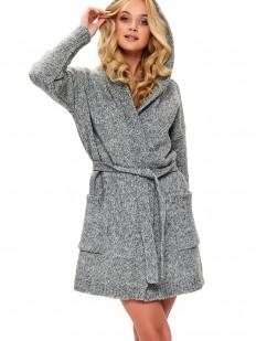 Теплый женский халат из шерсти и акрила с капюшоном темно-серый