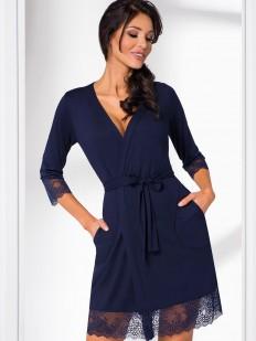 Женский халат темно-синий из вискозы с кружевной отделкой