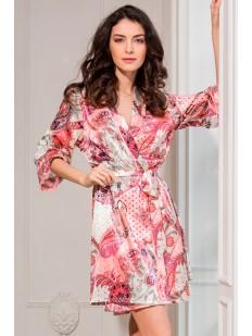Женский летний атласный халат с цветочным принтом