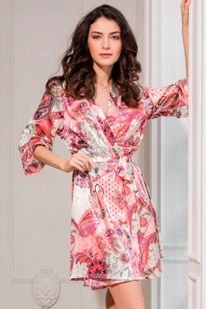 Женский короткий атласный халат с цветочным принтом Mia-Sofia Darina 9783 - фото 1