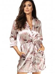 Атласный женский летний халат с цветочным принтом цвета шампань