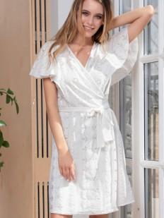 Женский хлопковый летний халат белый