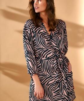 Атласный женский летний халат с принтом зебра