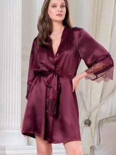 Летний бордовый женский халат из шелка с кружевным рукавом