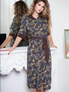Женский домашний халат из принтованной синей вискозы на пуговицах