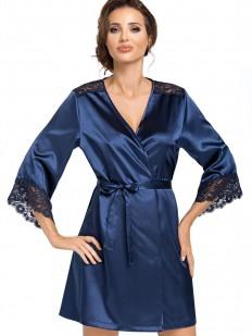 Женский атласный темно-синий халат летний с кружевным рукавом
