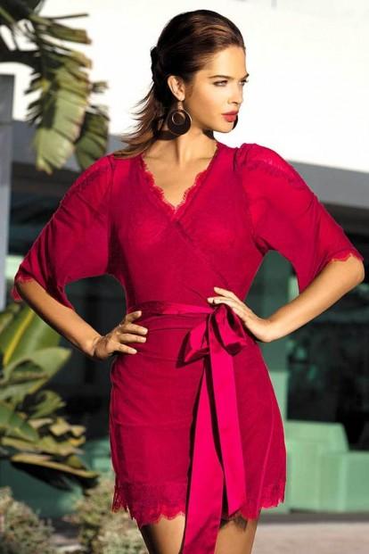 Женский изящный халат из сетки с кружевной отделкой Mia-Mia Lady in red 12029 - фото 1