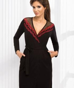 Женский черный халат из вискозы с длинным рукавом
