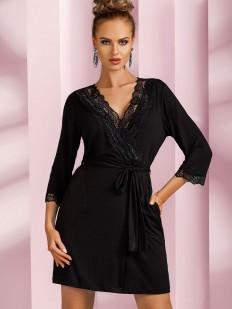 Женский черный халат из вискозы с кружевной отделкой
