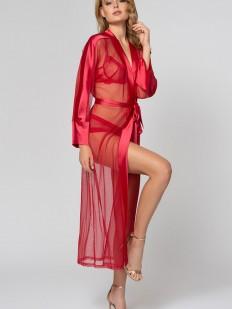 Прзрачный длинный красный женский халат на лето