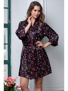 Атласный женский короткий халат с вишенками Mia-Amore Cherry