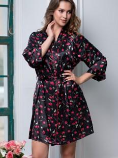 Атласный женский летний халат с вишенками