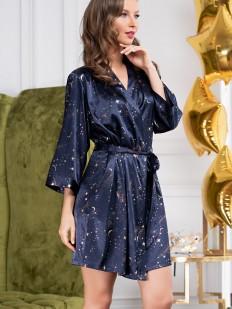 Атласный женский синий халат с золотистым принтом звездное небо