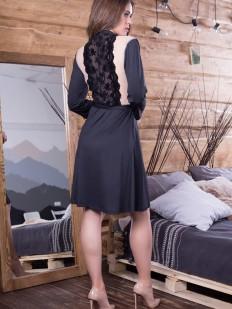 Атласный женский летний халат с кружевной спинкой