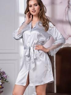 Женский халат на пуговицах из серебристого шелка с кружевом