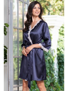 Атласный синий женский халат с кружевным декором