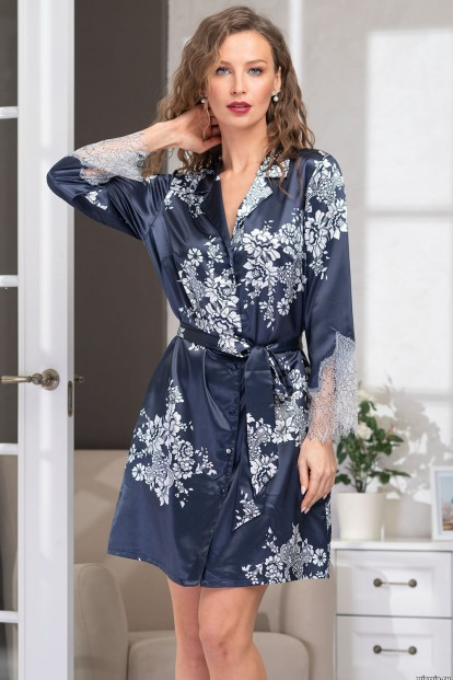 Шелковый короткий халат с кружевом Mia-Amore ALEXANDRIA 3577