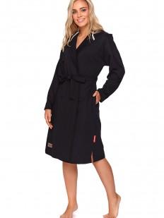 Черный женский халат из хлопка с капюшоном и карманами