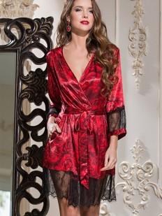 Шелковый женский кружевной халат с цветочным принтом Mia-Amore Carmen