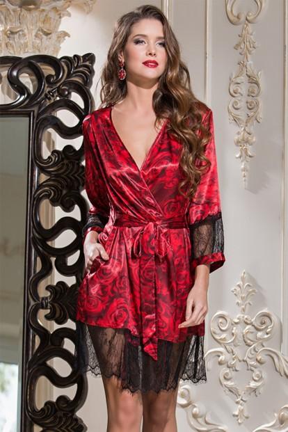 Шелковый женский кружевной халат с цветочным принтом Mia-Amore Carmen 3163 - фото 1
