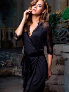 Женский трикотажный халат с кружевными рукавами