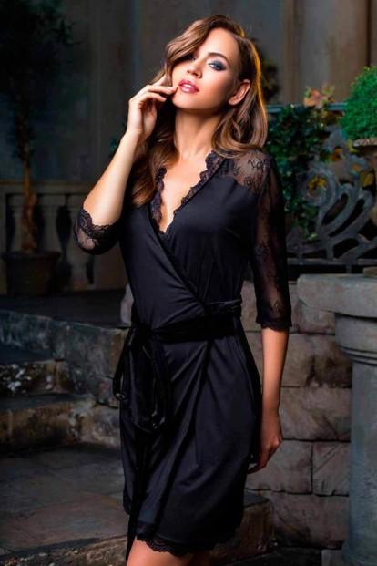 Женский трикотажный халат с кружевными рукавами Mia-Mia Elegance DE LUX 12033 - фото 1