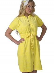 Желтый женский хлопковый халат на молнии