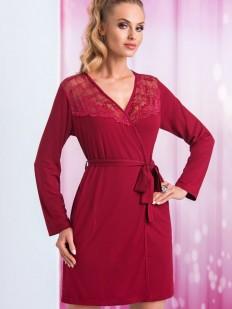 Женский бордовый халат из вискозы с кружевом
