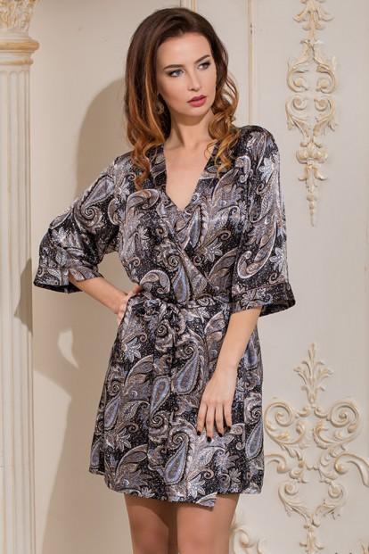 Шелковый женский халат кимоно с орнаментом Mia-Amore Donatella 3123 - фото 1